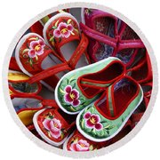 Chinese Baby Shoes Round Beach Towel