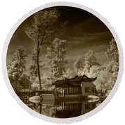 Chinese Botanical Garden In California With Koi Fish In Sepia Tone Round Beach Towel