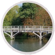 Chinese Bridge Over The River Round Beach Towel