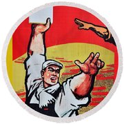 Chinese Communist Party Workers Proletariat Propaganda Poster Round Beach Towel