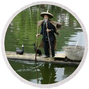 Chinese Cormorant Fisherman Round Beach Towel
