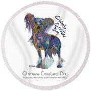 Chinese Crested Dog Pop Art Round Beach Towel