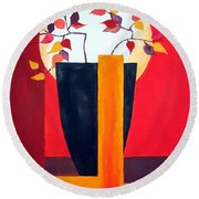 Chinese Flower On Vase Round Beach Towel