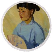 Chinese Girl With Fan 1914  Round Beach Towel