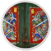 Chinese Guardians Round Beach Towel