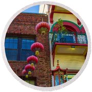 Chinese Lanterns Over Grant Street Round Beach Towel