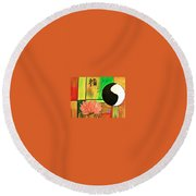 Chinese Medicine Round Beach Towel