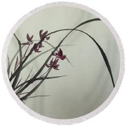 Chinese Orchid Round Beach Towel