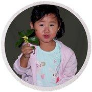 Chinese Orphan Girl Round Beach Towel