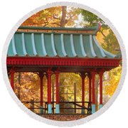 Chinese Pavillion In Tower Grove Park Round Beach Towel
