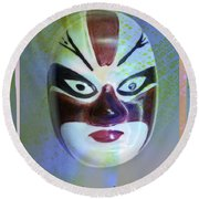 Chinese Porcelain Mask Round Beach Towel