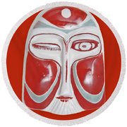 Chinese Porcelain Mask Red Round Beach Towel