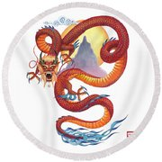 Chinese Red Dragon Round Beach Towel