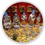 Chinese Religious Trinkets And Statues On Display In Xiamen Chin Round Beach Towel
