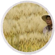 Chinese Rice Farmer Round Beach Towel