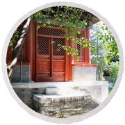 Chinese Temple Garden Round Beach Towel