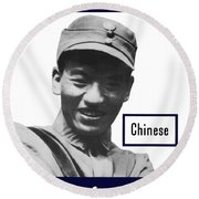 Chinese - This Man Is Your Friend - Ww2 Round Beach Towel