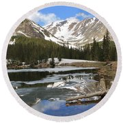 Chinns Lake Reflections 3 Round Beach Towel