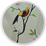 Chinoiserie - Magnolias And Birds #1 Round Beach Towel