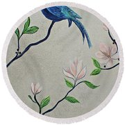 Chinoiserie - Magnolias And Birds #4 Round Beach Towel
