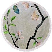 Chinoiserie - Magnolias And Birds #5 Round Beach Towel