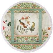 Triptych - Chinoiserie Vintage Hummingbirds N Flowers Round Beach Towel