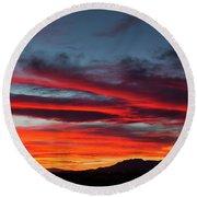 Chiricahua Mountain Sunset Round Beach Towel