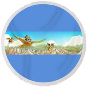Chiricahua Mountains Panorama Round Beach Towel