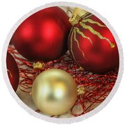 Chirstmas Ornaments Round Beach Towel