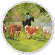Chisholm Trail Texas Longhorn Cattle Drive Oil Painting By Kmcelwaine Round Beach Towel