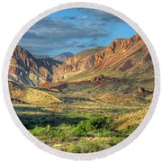 Chisos Mountains Of West Texas Round Beach Towel