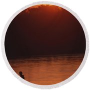 Chitwan Sunset Round Beach Towel