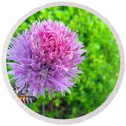 Chive And Bee Round Beach Towel