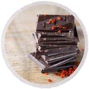 Chocolate And Chili Round Beach Towel