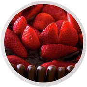 Chocolate And Strawberry Cake Round Beach Towel