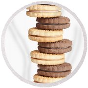 Chocolate And Vanilla Creamed Filled Cookies  Round Beach Towel