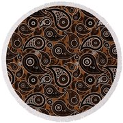 Chocolate Brown Paisley Design Round Beach Towel