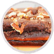 Chocolate Brownie With Nuts Dessert Round Beach Towel