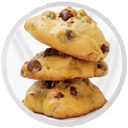 Chocolate Chip Cookies Isolated On White Background Round Beach Towel