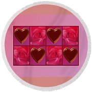 Chocolate Hearts And Roses Round Beach Towel