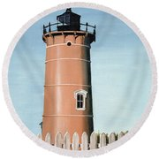 Chocolate Lighthouse Round Beach Towel