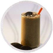 Chocolate Milk With Cookies Round Beach Towel
