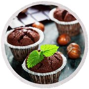 Chocolate Muffins Round Beach Towel