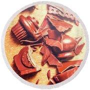 Chocolate Tableware Destruction Round Beach Towel