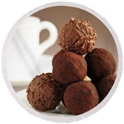Chocolate Truffles And Coffee Round Beach Towel