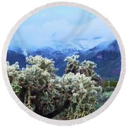 Cholla Cactus And Superstition Mountains Round Beach Towel