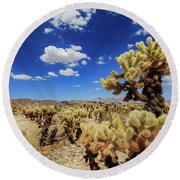 Cholla Cactus Garden In Joshua Tree National Park Round Beach Towel