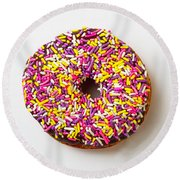 Cholocate Donut With Sprinkles Round Beach Towel by Garry Gay