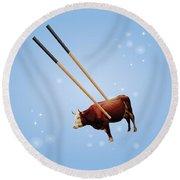 Chopsticks Cow Blue Stars Round Beach Towel