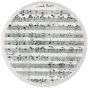 Chorus Of Shepherds, Handwritten Score Of The Opera Ascanio In Alba Round Beach Towel